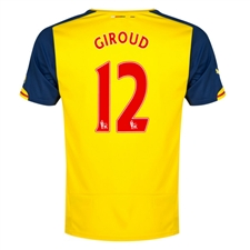 Puma Arsenal 'GIROUD 12' Away '14-'15 Replica Soccer Jersey (Empire Yellow/Estate Blue)