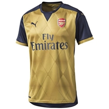 Puma Arsenal Away '15-'16 Replica Soccer Jersey (Black Iris/Victory Gold)