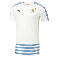 Puma Uruguay 2016 Away Soccer Jersey (White/Silver Lake Blue)