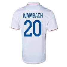 Nike Women's USA 2014 'WAMBACH 20' Home Replica Soccer Jersey (Football White/Game Royal)