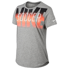 Nike Women's Graphic Soccer Tee Shirt (Dark Grey Heather/White)