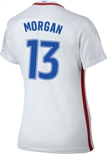 Nike Women's USA 2016 OLYMPIC RIO 'MORGAN 13' Soccer Jersey (White/Royal/Red)