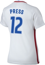 Nike Women's USA 2016 OLYMPIC RIO 'PRESS 12' Soccer Jersey (White/Royal/Red)