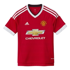 Adidas Manchester United Youth Home '15-'16 Soccer Jersey (Real Red/White/Black)