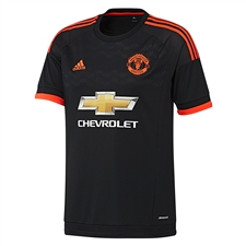 Adidas Manchester United Youth Third '15-'16 Soccer Jersey (Black/Solar Red)