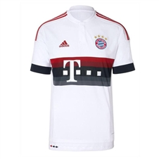 Adidas Bayern Munich Away Youth '15-'16 Soccer Jersey (White/Power Red/Night Navy/Bold Onix)