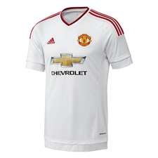 Adidas Manchester United Youth Away '15-'16 Soccer Jersey (White/Real Red)