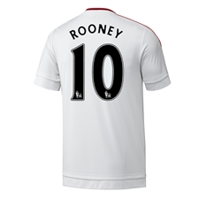 Adidas Manchester United Youth 'ROONEY 10' Away '15-'16 Soccer Jersey (White/Real Red)