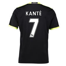Adidas Youth Chelsea 'KANTE 7' Away '16-'17 Replica Soccer Jersey (Black/Grey/Solar Yellow)