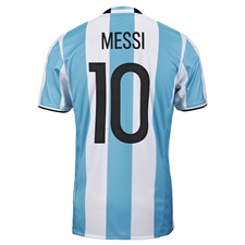Adidas 'MESSI 10' Youth Argentina Home 2016 Replica Soccer Jersey (Light Blue/White/Black)