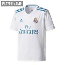 Adidas Real Madrid Home '17-'18 Youth Soccer Jersey (White/Vivid Teal)