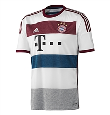 Adidas Bayern Munich Youth Away '14-'15 Replica Soccer Jersey (White/Mid Grey/Cardinal/Tribe Blue)