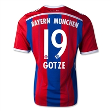 Adidas Bayern Munich 'GOTZE 19' Home Youth '14-'15 Replica Soccer Jersey (FCB True Red/Collegiate Royal/White)