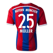 Adidas Bayern Munich 'MULLER 25' Home Youth '14-'15 Replica Soccer Jersey (FCB True Red/Collegiate Royal/White)
