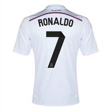 Adidas Real Madrid 'RONALDO 7' Home Youth '14-'15 Replica Soccer Jersey  (White/Black/Blast Pink)