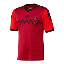Adidas Mexico Youth Away '13-'14 Replica Soccer Jersey (Red/Black)