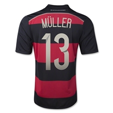 Adidas Germany Youth 'MULLER 13' Away 2014 Replica Soccer Jersey (Black/Victory Red/Metallic Silver)