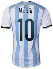 Adidas Youth Argentina 'MESSI 10' Home 2014 Replica Soccer Jersey (White/Columbia Blue/Argentina Blue/Black)