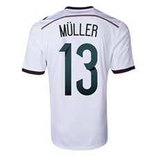 Adidas Germany Youth 'MULLER 13' Home 2014 Replica Soccer Jersey (White/Black/Victory Red/Metallic Silver)