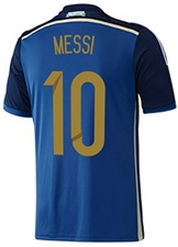 Adidas Youth Argentina 'MESSI 10' Away 2014 Replica Soccer Jersey (Pride Ink/Collegiate Navy/Light Football Gold/White)