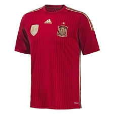 Adidas Spain Youth Home 2014 Replica Soccer Jersey (Victory Red/Light Football Gold/Toro)