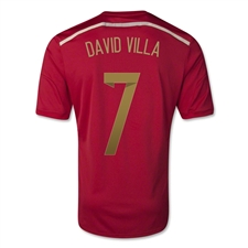 Adidas Spain Youth 'DAVID VILLA 7' Home 2014 Replica Soccer Jersey (Victory Red/Light Football Gold/Toro)