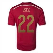 Adidas Spain Youth 'ISCO 22' Home 2014 Replica Soccer Jersey (Victory Red/Light Football Gold/Toro)