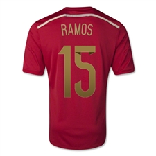 Adidas Spain Youth 'RAMOS 15' Home 2014 Replica Soccer Jersey (Victory Red/Light Football Gold/Toro)