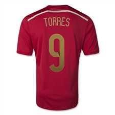 Adidas Spain Youth 'TORRES 9' Home 2014 Replica Soccer Jersey (Victory Red/Light Football Gold/Toro)