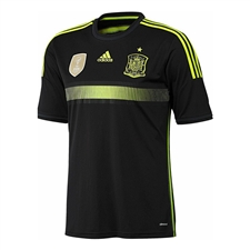 Adidas Spain Youth Away 2014 Replica Soccer Jersey (Black/Electricity/Dark Shale)