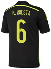 Adidas Spain Youth 'INIESTA 6' Away 2014 Replica Soccer Jersey (Black/Electricity/Dark Shale)
