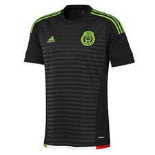 Adidas Mexico Home Youth 2015 Replica Soccer Jersey (Black/Dark Grey/Semi Solar Green/Hi Res Red)