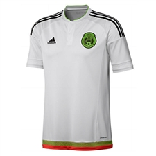 Adidas Mexico Away Youth 2015 Replica Soccer Jersey (White/Black/Semi Solar Green/Hi Res Red)
