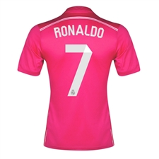 Adidas Real Madrid 'RONALDO 7' Away Youth '14-'15 Replica Soccer Jersey (Blast Pink/White)