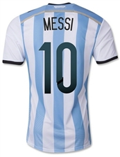 Adidas Argentina 'MESSI 10' Home 2014 Youth Replica Soccer Jersey (White/Columbia Blue/Argentina Blue/Black)
