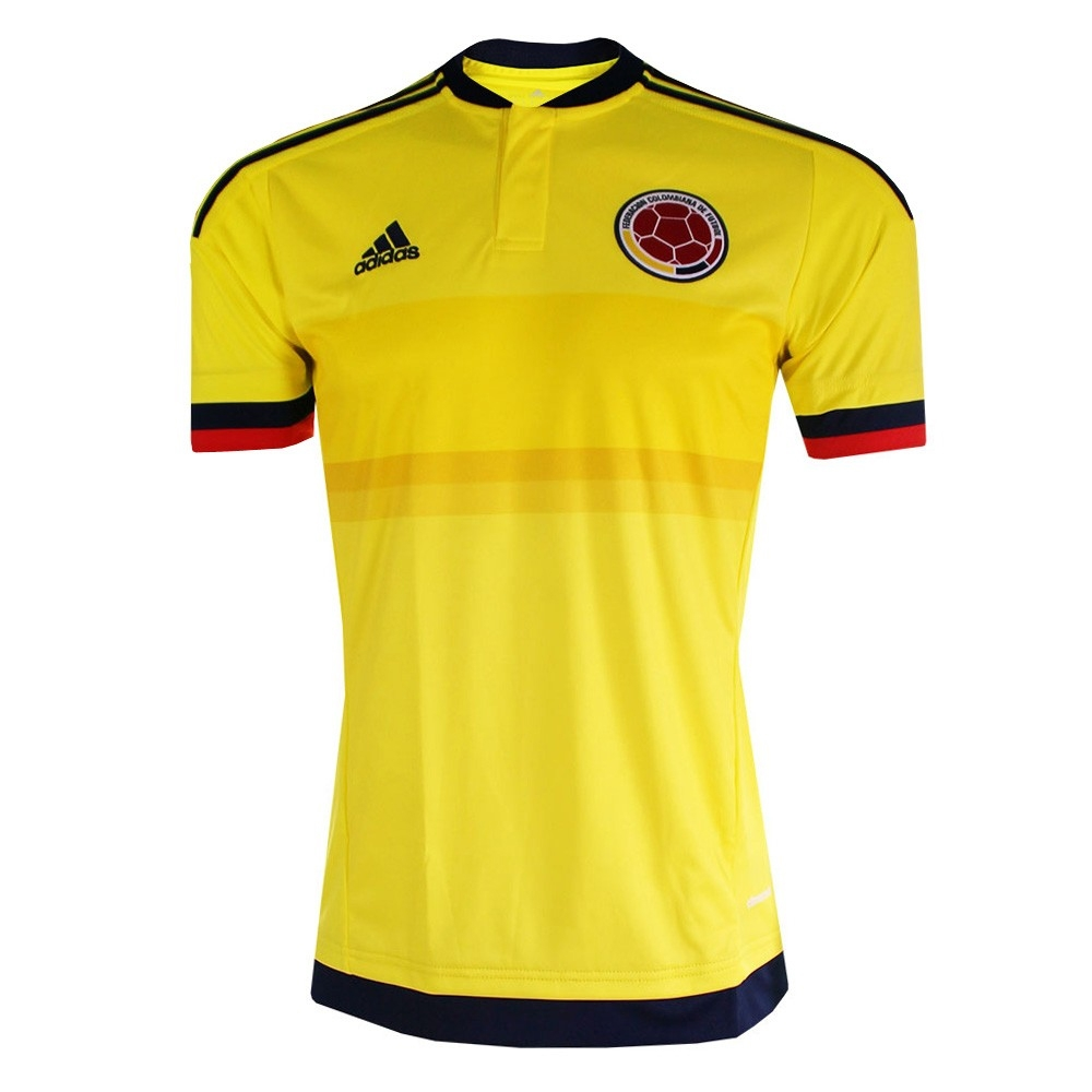 Outlet New Jersey >> Adidas Colombia Youth Home 2015 Replica Soccer Jersey (Bright Yellow/Collegiate Navy)