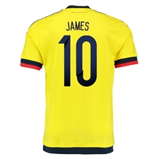 Adidas Colombia 'JAMES 10' Youth Home 2015 Replica Soccer Jersey (Bright Yellow/Collegiate Navy)