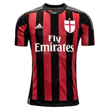 Adidas AC Milan Home Youth 2015-2016 Replica Soccer Jersey (Black/Victory Red/Granite)