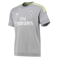 Adidas Real Madrid Away Youth '15-'16 Replica Soccer Jersey (Grey/Solar Yellow/White)
