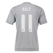 Adidas Real Madrid 'BALE 11' Away Youth '15-'16 Replica Soccer Jersey (Grey/Solar Yellow/White)