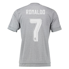 Adidas Real Madrid 'RONALDO 7' Away Youth '15-'16 Replica Soccer Jersey (Grey/Solar Yellow/White)