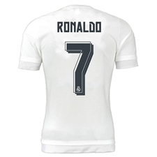 Adidas Real Madrid 'RONALDO 7' Home Youth '15-'16 Replica Soccer Jersey (White/Clear Grey)