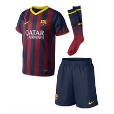 Nike FC Barcelona Home Little Boys 13'-14' Soccer Kit (Midnight Navy/Storm Red/Vibrant Yellow)
