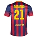 Nike FC Barcelona 'ADRIANO 21' Home '13-'14 Youth Replica Soccer Jersey (Midnight Navy/Storm Red/Tour Yellow)