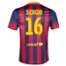 Nike FC Barcelona 'SERGIO 16' Home '13-'14 Youth Replica Soccer Jersey (Midnight Navy/Storm Red/Tour Yellow)
