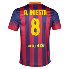 Nike FC Barcelona 'INIESTA 8' Home '13-'14 Youth Replica Soccer Jersey (Midnight Navy/Storm Red/Tour Yellow)