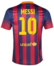 Nike FC Barcelona 'MESSI 10' Home Youth '13-'14 Replica Soccer Jersey (Midnight Navy/Storm Red/Tour Yellow)