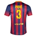 Nike FC Barcelona 'PIQUE 3' Home '13-'14 Youth Replica Soccer Jersey (Midnight Navy/Storm Red/Tour Yellow)