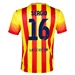 Nike FC Barcelona 'SERGIO 16' Away '13-'14 Youth Replica Soccer Jersey (University Red/Vibrant Yellow)