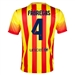 Nike FC Barcelona 'FABREGAS 4' Away '13-'14 Youth Replica Soccer Jersey (University Red/Vibrant Yellow)